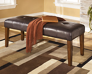 ... Large Lacey Dining Room Bench, Medium Brown, Rollover