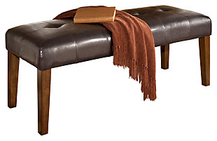 Lacey Dining Room Bench, Medium Brown, large