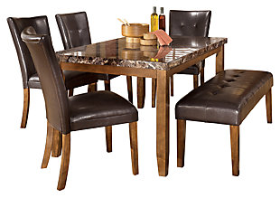 Lacey Dining Table and 4 Chairs and Bench, , large