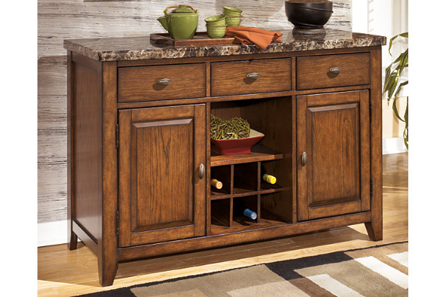 Medium Brown Lacey Dining Room Server View 1