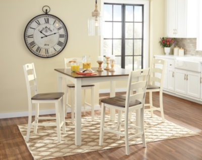 Ashley Woodanville Counter Height Dining Room Table and Bar Stools (Set of 5), Cream/Brown