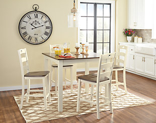 Woodanville Counter Height Dining Room Table and Bar Stools (Set of 5), , rollover
