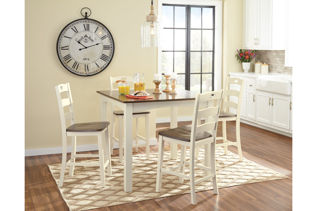 Woodanville Counter Height Dining Room Table and Bar Stools ...