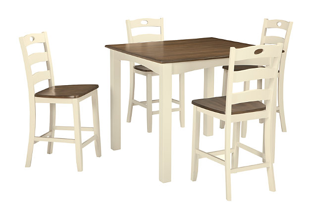 White/Brown Woodanville Counter Height Dining Room Table And Bar Stools (Set  Of 5