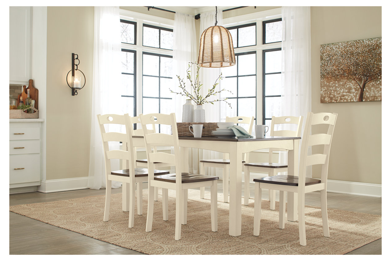 Shop Queen Anne Desk Chair Set Free Shipping Today >> Woodanville Dining Room Table And Chairs Set Of 7 Ashley
