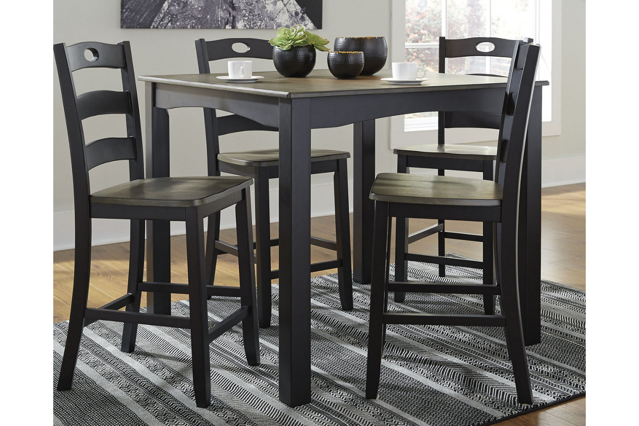 Froshburg Counter Height Dining Room Table and Bar Stools ...