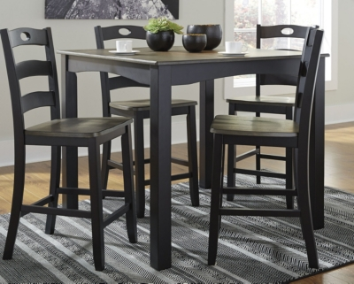 Picture of: Froshburg Counter Height Dining Table And Bar Stools Set Of 5 Ashley Furniture Homestore