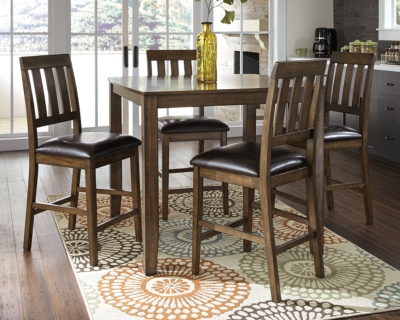 Ashley Puluxy Counter Height Dining Room Table and Bar Stools (Set of 5), Brown