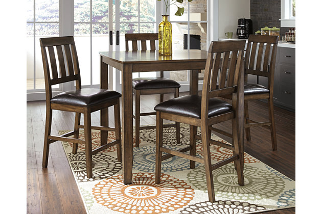 Brown Puluxy Counter Height Dining Room Table And Bar Stools (Set Of 5) View