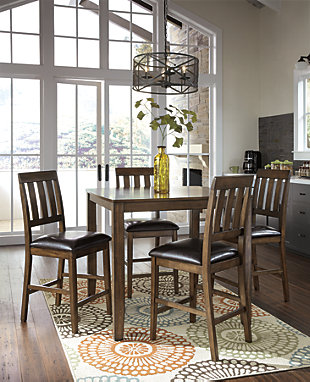 Puluxy Counter Height Dining Room Table And Bar Stools
