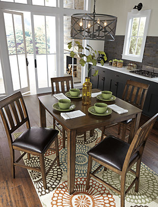 Puluxy Counter Height Dining Room Table and Bar Stools (Set of 5), , large
