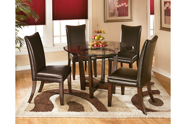 Charrell Glass Top Dining Table With Matching Chairs In Dark Brown