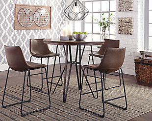 Marvelous ... Large Centiar Counter Height 5 Piece Dining Room, , Rollover