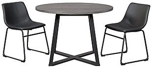 Centiar Dining Table and 2 Chairs, Black, large
