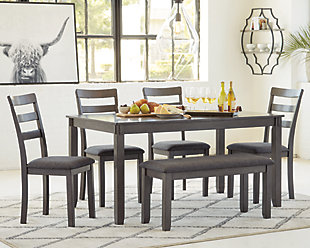 Bridson Dining Room Table and Chairs with Bench (Set of 6), , large