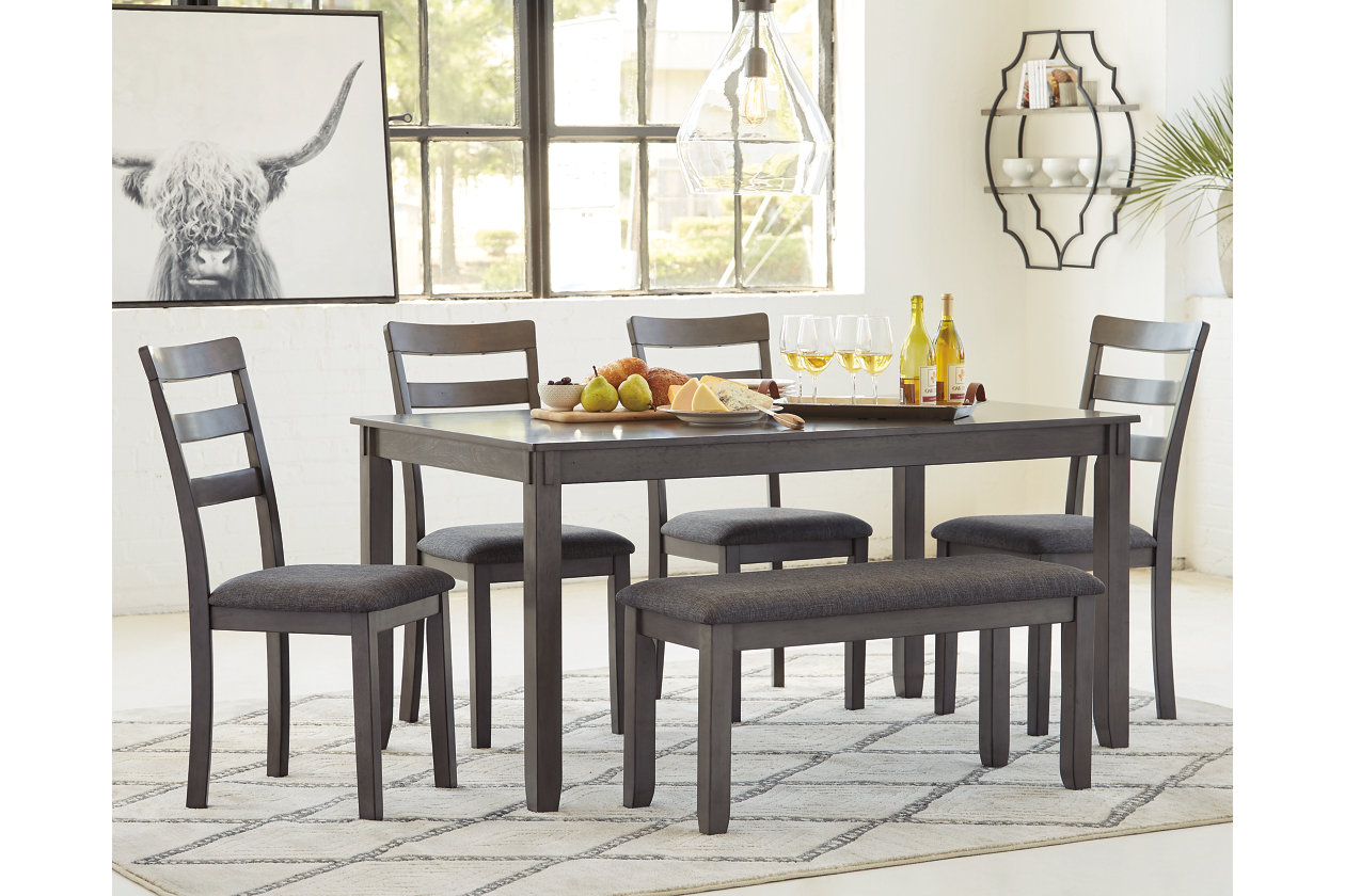Bridson Dining Table And Chairs With Bench Set Of 6 Ashley Furniture Homestore