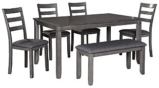 Bridson Dining Table and Chairs with Bench (Set of 6), , large