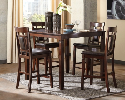 Ashley Bennox Counter Height Dining Room Table and Bar Stools (Set of 5), Brown