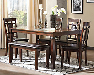 ... Large Bennox Dining Room Table And Chairs With Bench (Set Of 6), ,  Rollover