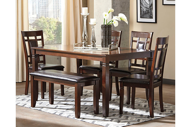 bennox dining room table and chairs with bench set of 6 large - Dining Room Table With Chairs And Bench
