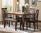 Brown Bennox Dining Room Table and Chairs with Bench (Set of 6) View 1