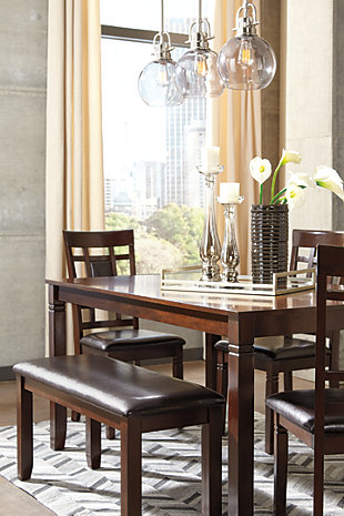 Bennox Dining Room Table and Chairs with Bench (Set of 6) | Ashley ...