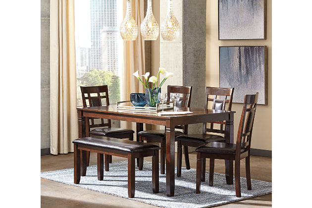 Brown Bennox Dining Room Table And Chairs With Bench Set Of 6 View 5