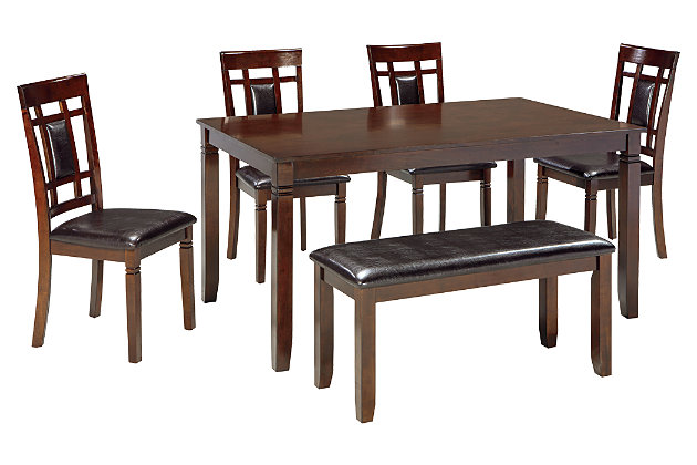 Bennox Dining Room Table and Chairs with Bench (Set of 6), , large