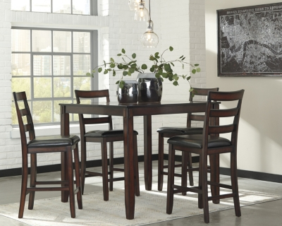 Coviar Counter Height Dining Room Table And Bar Stools Set Of 5 Ashley Fu