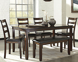 Large Coviar Dining Room Table And Chairs With Bench Set Of 6 Rollover