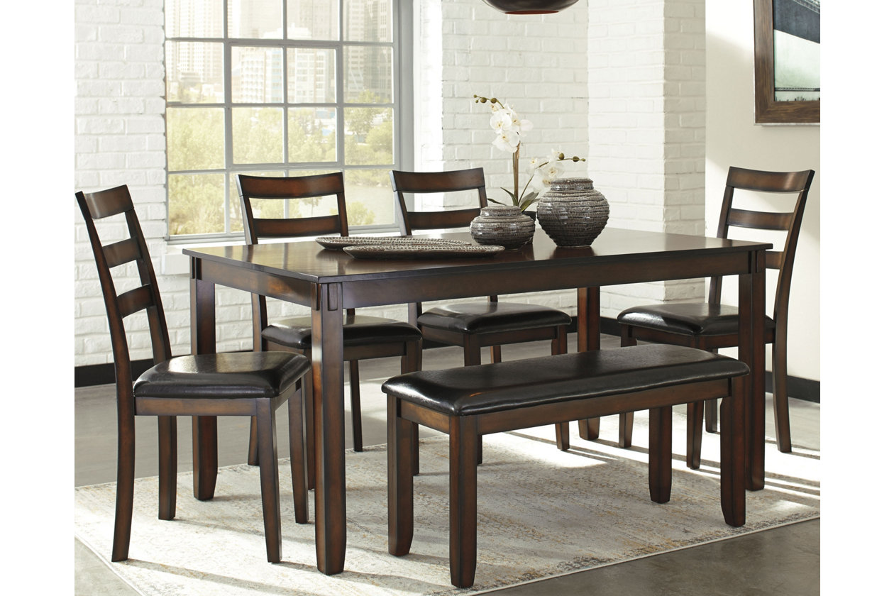 Coviar Dining Room Table and Chairs with Bench (Set of 6 ...