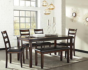 ... Coviar Dining Room Table And Chairs With Bench (Set Of 6), , Large ...