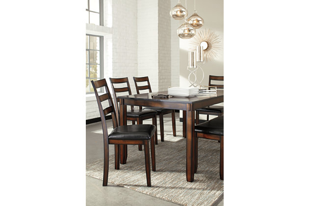 Brown Coviar Dining Room Table And Chairs With Bench (Set Of 6) View 4