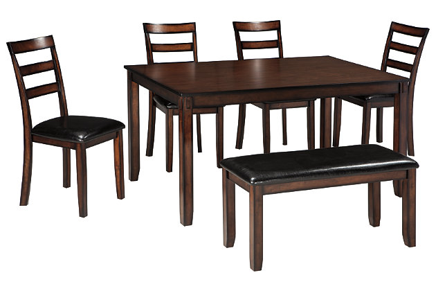 Coviar Dining Room Table and Chairs with Bench (Set of 6), , large