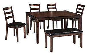 Coviar Dining Table and Chairs with Bench (Set of 6), , large