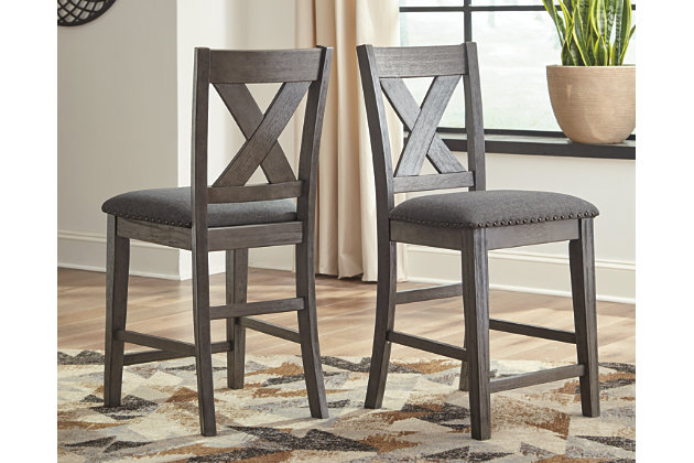 Caitbrook Counter Height Upholstered Bar Stool, Gray, large