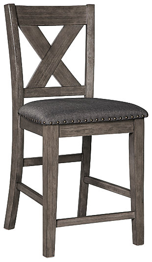 Caitbrook Counter Height Upholstered Bar Stool, Gray, rollover