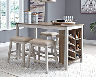 Skempton Counter Height Dining Table and 4 Barstools, , large