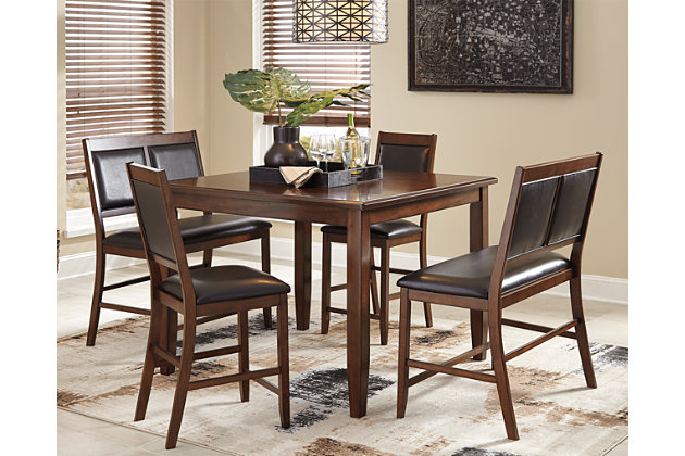 Meredy Counter Height Dining Room Table and Bar Stools (S...