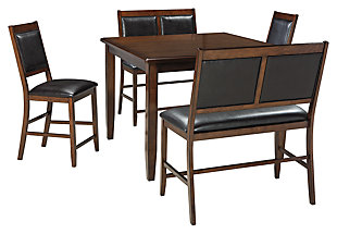 Meredy Counter Height Dining Room Table and Bar Stools (Set of 5), , large