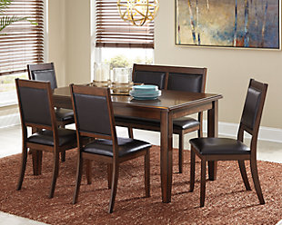 Large Meredy Dining Room Table And Chairs With Bench Set Of 6 Rollover