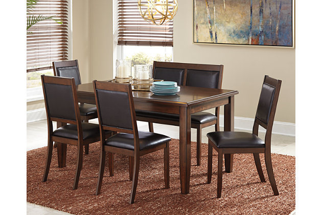 meredy dining room table and chairs with bench set of 6 large - Dining Room Table With Chairs And Bench