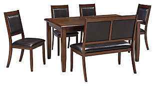 Meredy Dining Room Table and Chairs with Bench (Set of 6), , large