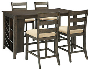 Rokane Counter Height Dining Table and 4 Barstools, , large