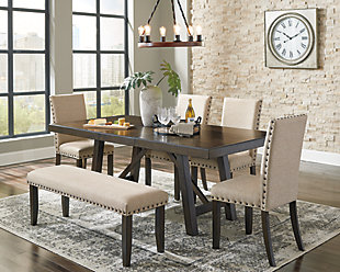 Rokane Dining Table and 4 Chairs and Bench, , large