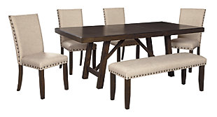 Rokane Dining Table and 4 Chairs and Bench, , rollover