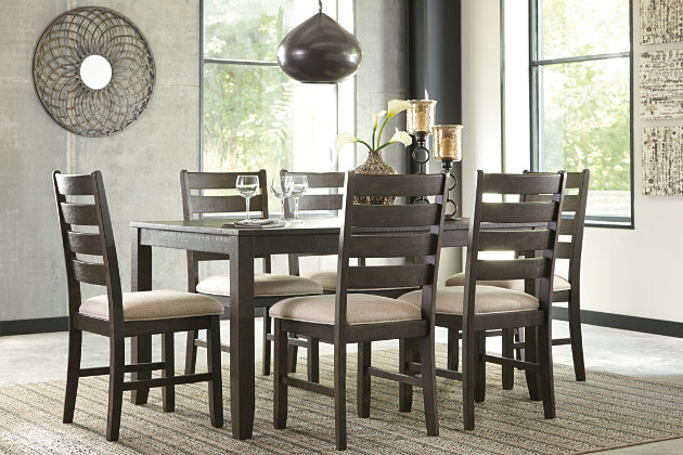 Amazing Brown Rokane Dining Room Table And Chairs (Set Of 7) View 4