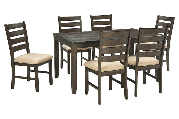 Groovy Rokane Dining Room Table And Chairs Set Of 7 Ashley Caraccident5 Cool Chair Designs And Ideas Caraccident5Info