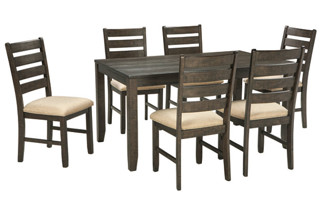 brown rokane dining room table and chairs set of 7 view 2 - Dining Room Furniture Chairs