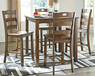 Hazelteen Counter Height Dining Room Table and Bar Stools (Set of 5), , rollover